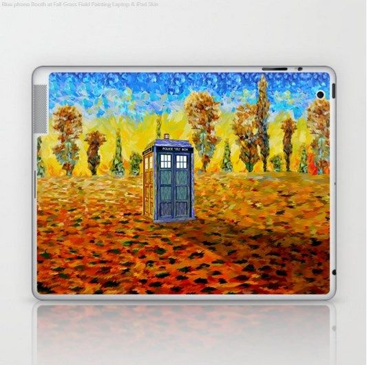 9f88475476580 Blue phone Booth at Fall Grass Field Painting Laptop & iPad Skin ...