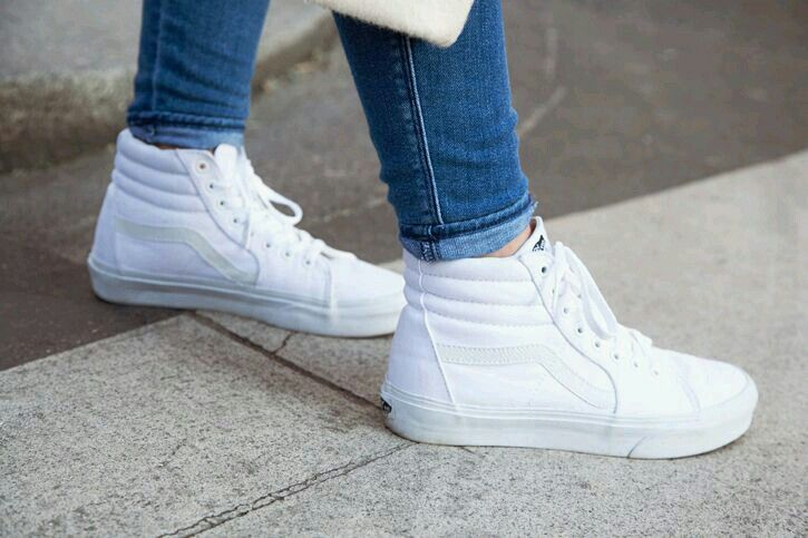 White high top vans.