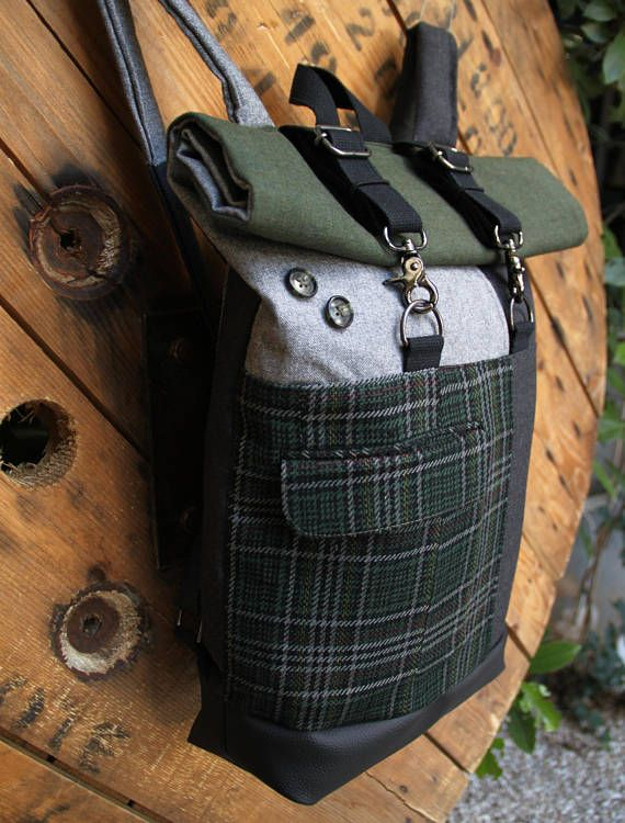 Gray and dark green roll top upcycled rucksack using a men's vintage checked suit on the front serving as a pocket, by 'eating the goober'