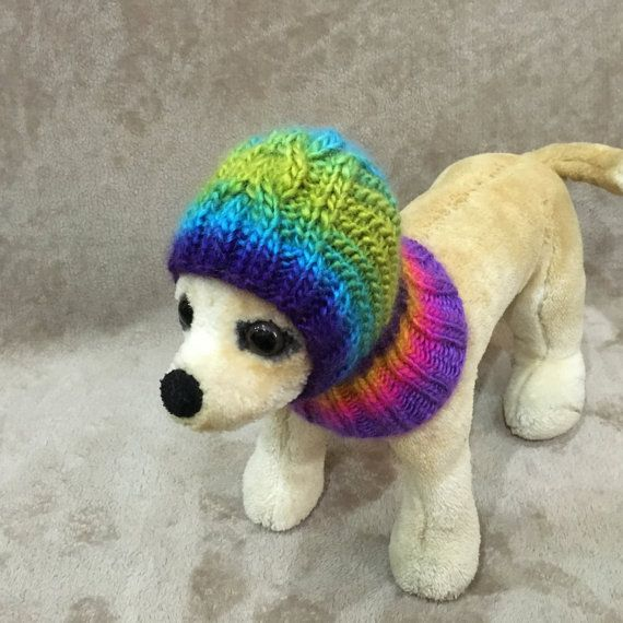 This dog hat is perfect for your Chihuahua, Yorkie,Poodle or small dog. Exclusive 100% hand-knit Original Design Size XS-10-11 / (25cm-28cm)  Size S-11-12/(28cm-30cm)  Machine Wash & Dry