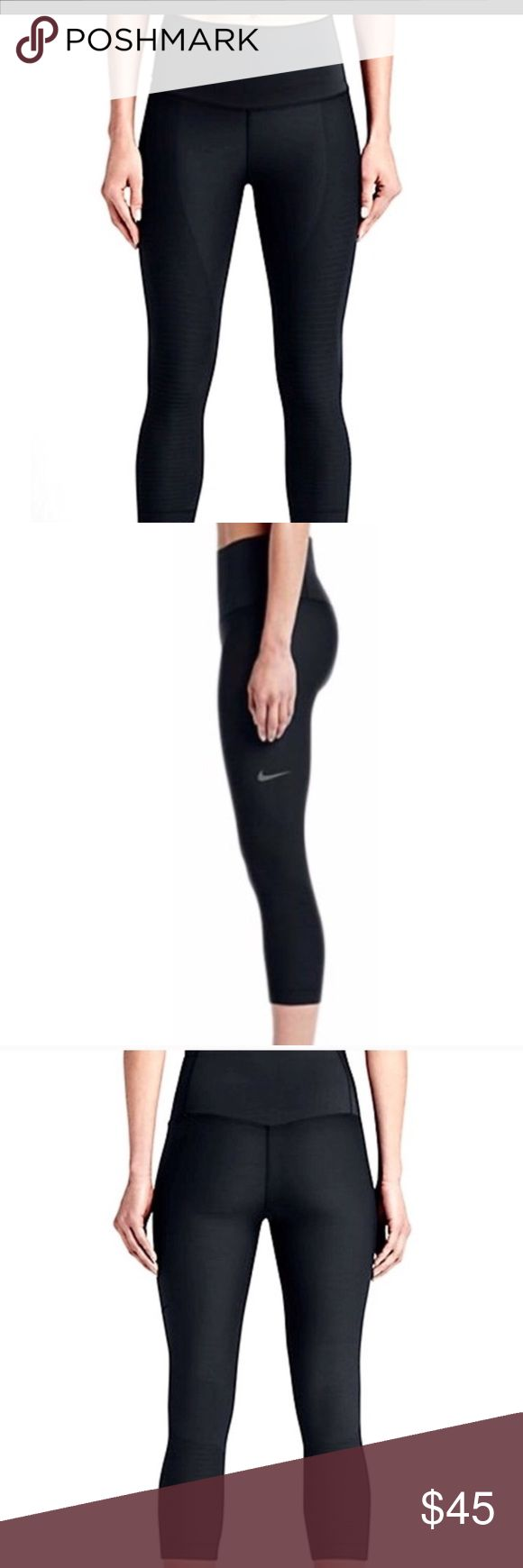 Nike Zoned Sculpt Capris in Black High rise Skinny fit through hips and thighs Skinny cropped leg Pull-on styling Knit-in compression zones for muscle support. Made of 88% nylon and 12% spandex. Size medium. Gently worn in excellent preowned condition. No signs of wear. 😍 Nike Pants Leggings