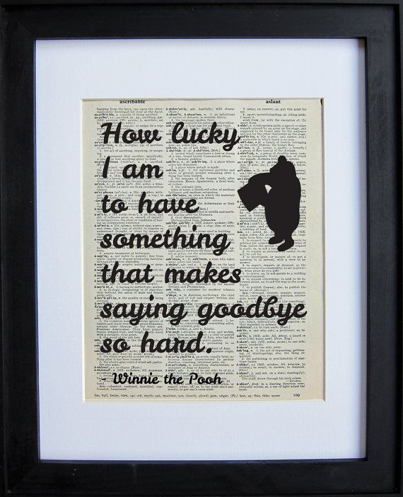 Winnie the Pooh Quote Two printed on a page from an antique dictionary on Etsy,