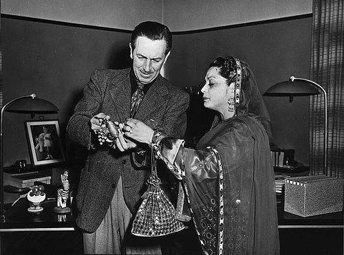 Rana Liaquat, wife of Pakistan's first Prime Minister, Liaquat Ali Khan, with famous American animator, film-maker and entrepreneur, Walt Disney, in 1951.