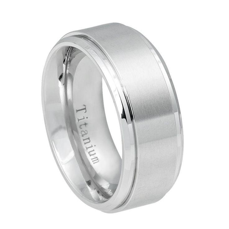 9mm Flat White IP Titanium Ring Brushed Center Shiny Step Edge