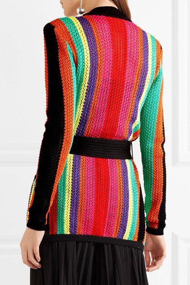 Balmain - Striped Open-knit Blazer - Pink - FR46