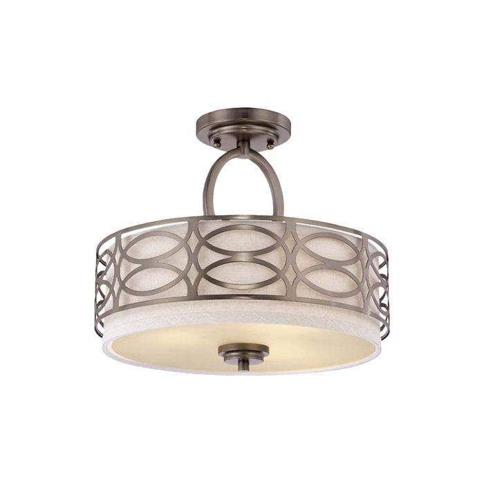 Add a touch of beauty and elegance to your decor with this 3 Light Flush Mount. It is available in various gorgeous finishes to choose from. The modern flush mount is made from metal and a cylindrical fabric that makes it sturdy and adorable as well. This flush mount can easily accommodate three 60W incandescent bulbs. These lights are dimmable that allows you to adjust its brightness in your room. This flush mount looks perfect in the entryway, foyer or living room. The flush mount has…
