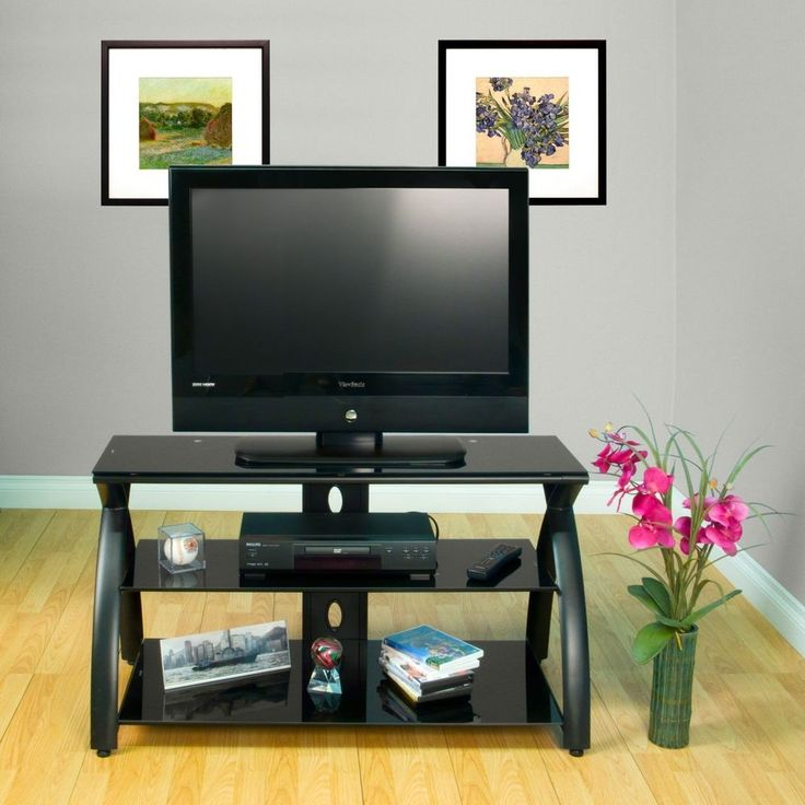 Black TV Stand Flat Screen 42 Inch Television Entertainment Center NEW dlp 52 30