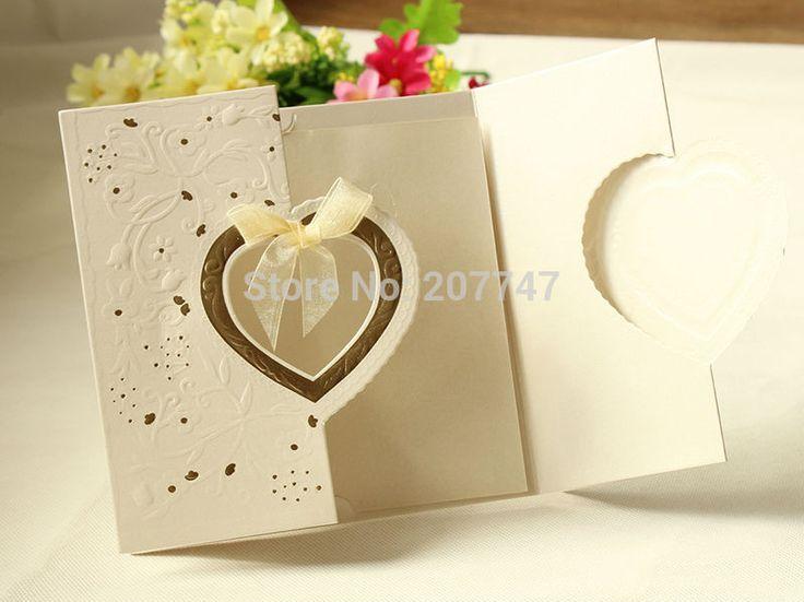 20 PCS Laser Cut Love Heart Wedding Invitations Shining Wedding Invitations with A Tie Wedding Centerpieces
