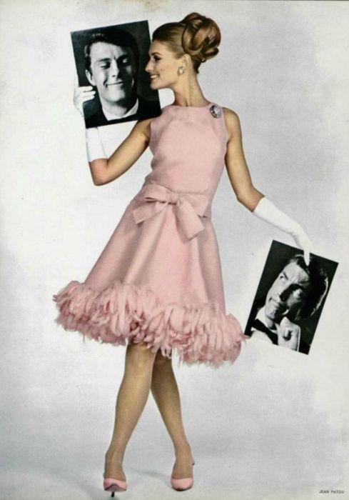 Jean Patou 1955 pretty pink dress mid 50s mcm mid century vintage fashion cocktail knee length bow belt shoes hair vintage fashion