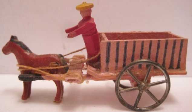 Unusual Antique Wooden Putz Christmas Farm Toy 2 Wheel Horse Cart Germany 1920s