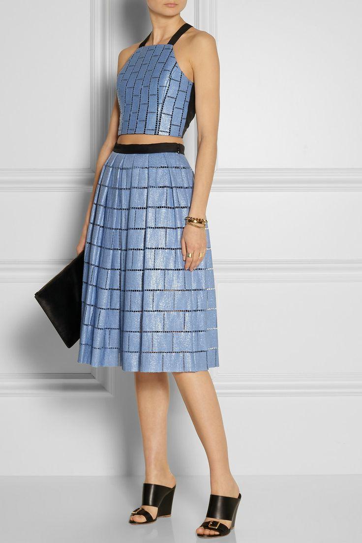 Tibi|Cropped raffia-effect cotton-blend top|Skirt