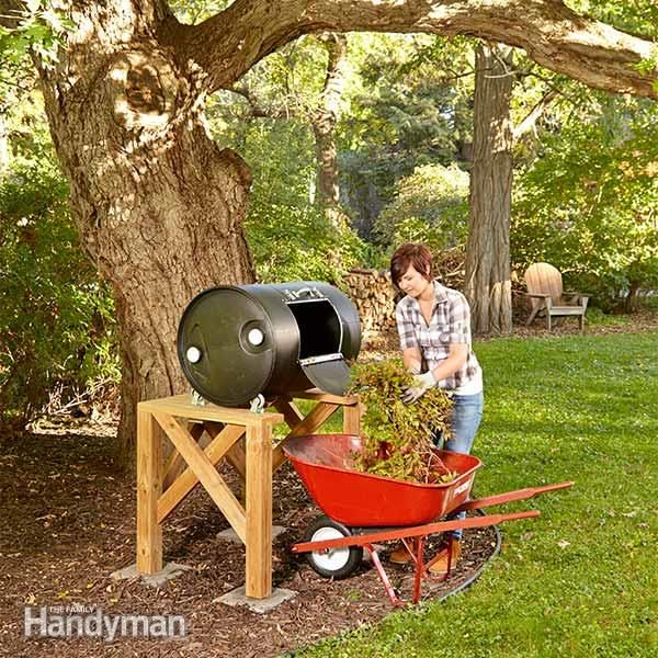 Drum composters convert yard waste to finished compost much faster than stationary compost bins do because they allow you to churn and instantly aerate the waste. Plus, drum composters are easier on your back.