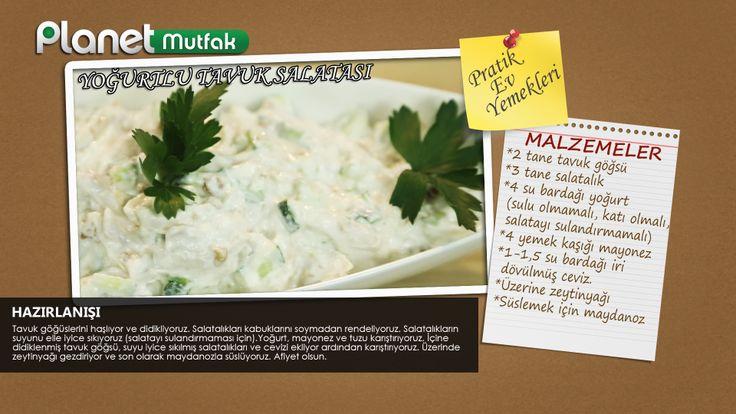 """""""Pratik Ev Yemekleri"""" programında Sevim Malkadı'nın seçtiği ve programında sizler için yaptığı """"Yoğurtlu Tavuk Salatası"""" tarifi."""