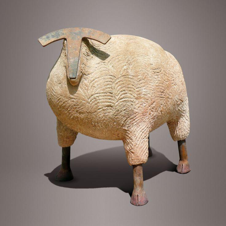 'Mouton' by French ceramic sculptor Christian Pradier (b.1949). 38 x 36 cm. via the artist's site