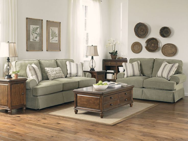 Living Room With Rustic Feel Green Couch Living Room