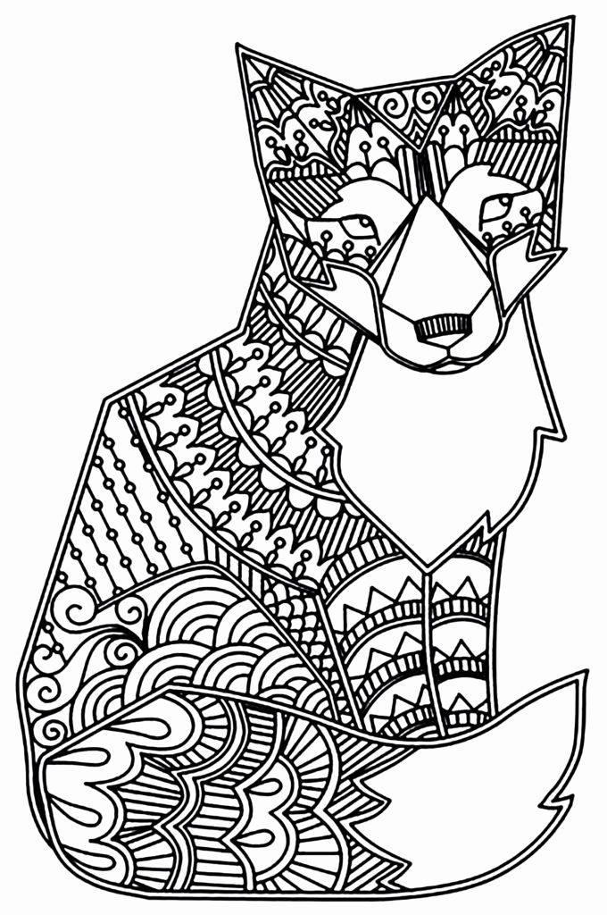 Coloring Pages For Kids Detailed Animals Fox Coloring Page Animal Coloring Pages Mandala Coloring Pages