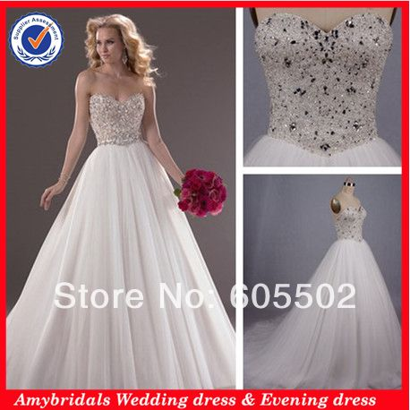 AM0618 Sweetheart crystal beaded corset bodice puffy ball gown wedding dresses 2014