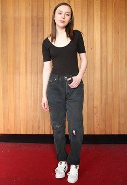Vintage High-waisted Black Levi's 501 Paint Mom Jeans