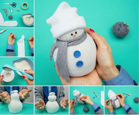 Sock Snowman Tutorial. I know that this pin is early, but I cant wait for Christmas. I love the snow, the tree, and the beauty of it all.