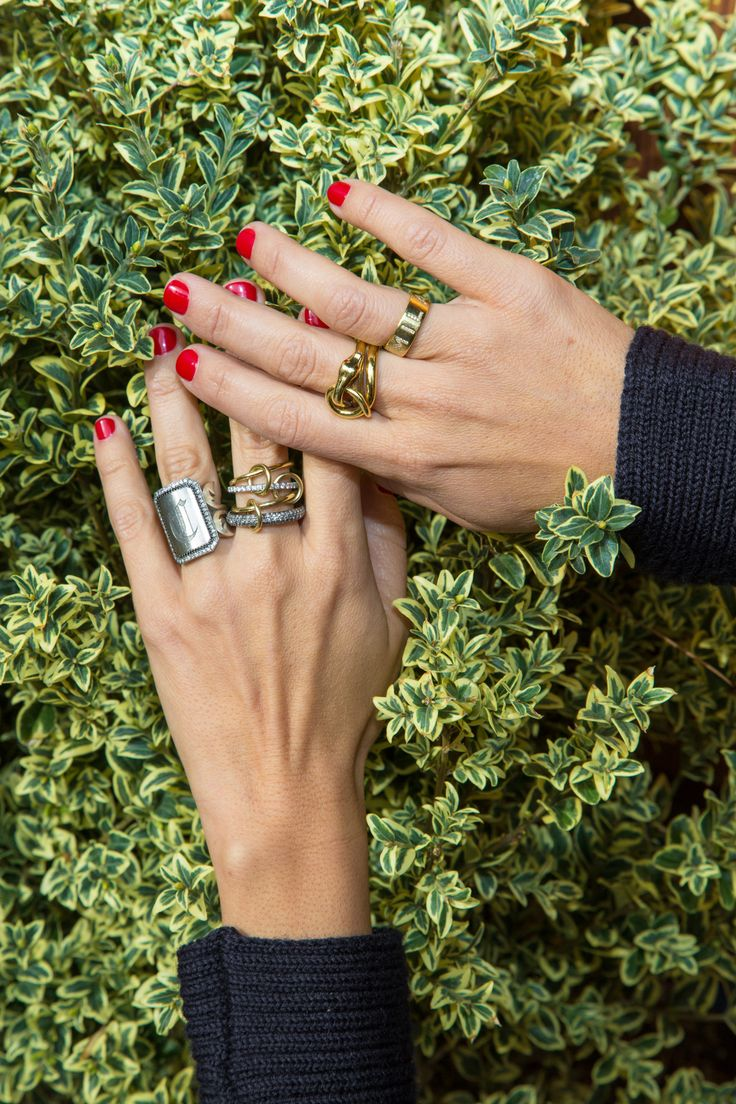 "Inside the closet of W Magazine Accessories and Jewelry director Claudia Mata: ""I never take off this Monique Pean ring. It's my everyday. And now my new everyday is this Spinelli Kilcollin.""-- Gold and silver rings. 