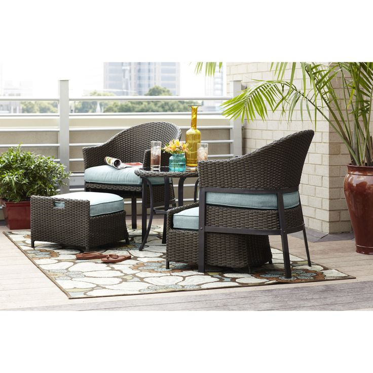 Front Porch set $400/Lowe's---great idea! BUT re-create with cheaper chair and table set, crates with casters to store underneath.