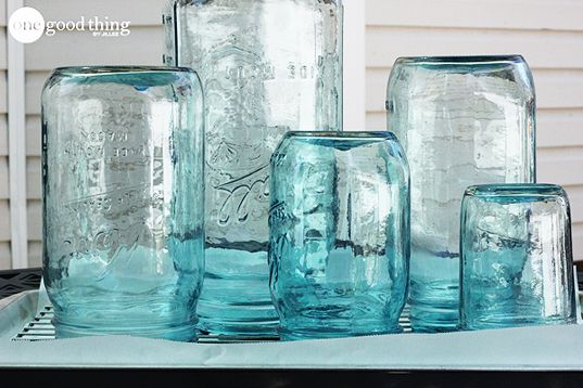 DIY Vintage Mason Jars      Mason jars     A plastic cup     A skewer or popsicle stick for stirring     1 jar of Pebeo Vitrea 160 Glass Paint in Turquoise     1 jar of Pebeo Vitrea Lightening Medium