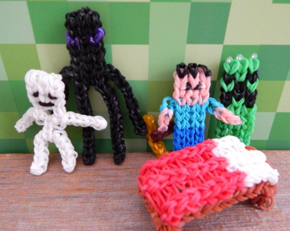 minecraft RAINBOW LOOM character SET plus bed by poshpaints, $19.20