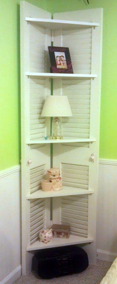 Corner Shelf from Repurposed Closet Doors.