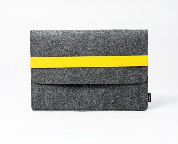 "Macbook Pro Macbook Air 13"" Macbook Sleeve Macbook Case Macbook Bag Macbook Holder Handmade Customized w Yellow Elastic Strip :E1148-MGra03y"