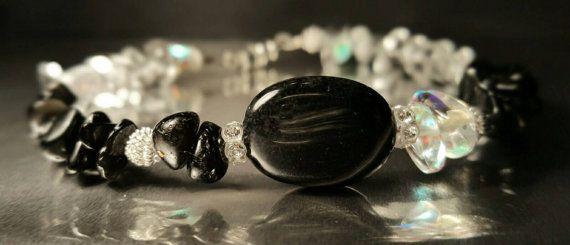Bracelet,zen,chips,pierres,semi précieuse, chic, élégant, onyx, quartz, cristal, swarovski, plaqué argent, noir, blanc, femme, soirée