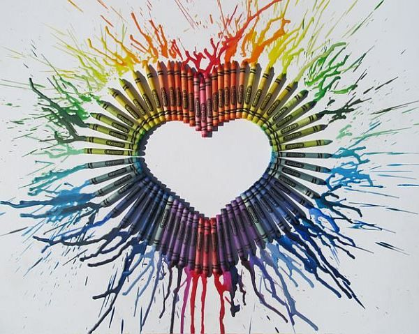 diy melted crayon wall art: 24 pack of crayons, hot glue gun, hair dryer aimed in the direction you want the wax to spread; it will dry quickly so you can rotate for the rest of the heart