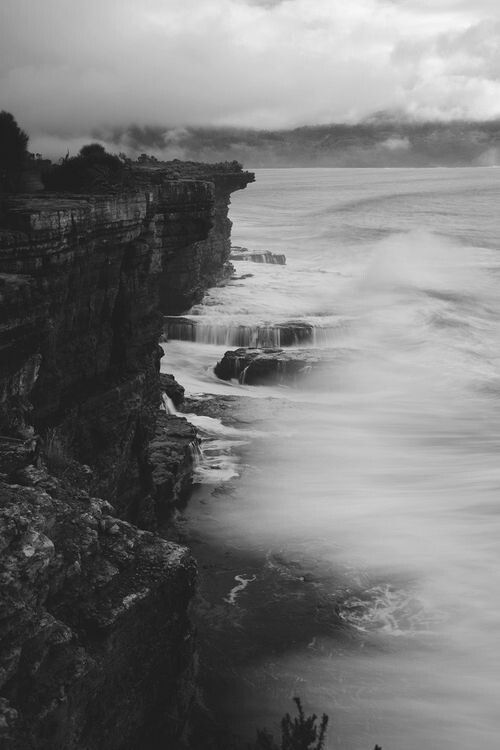 Black and white coastline