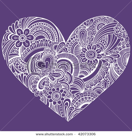 Stock Vector Illustration:  Hand-Drawn Intricate Henna Tattoo Paisley Heart Doodle Vector Illustration