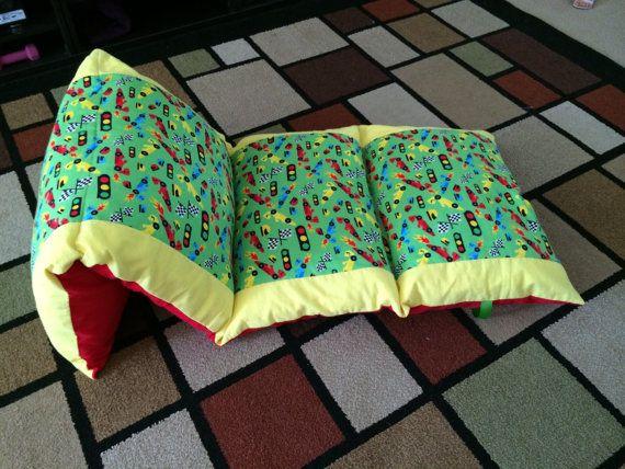 Handmade Childrens Racing Cars Pillow Nap Mat by SharonsCrafties