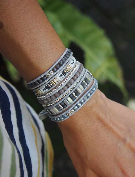 So Rock, Grey beaded mix, Boho Wrap bracelet, Bohemian bracelet, Beadwork…
