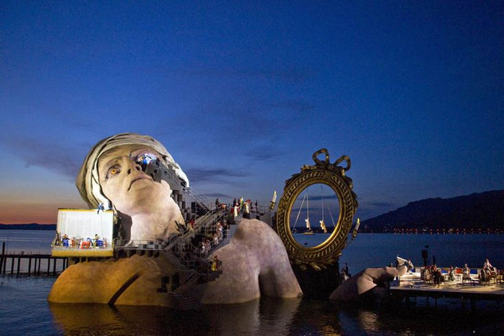"""Wow - I am definitely going to have to make this a goal - attending the """"Opera on the Lake"""" at Lake Constance in Bregenz, Austria.  Holy shit!  They build a new floating stage for each opera."""