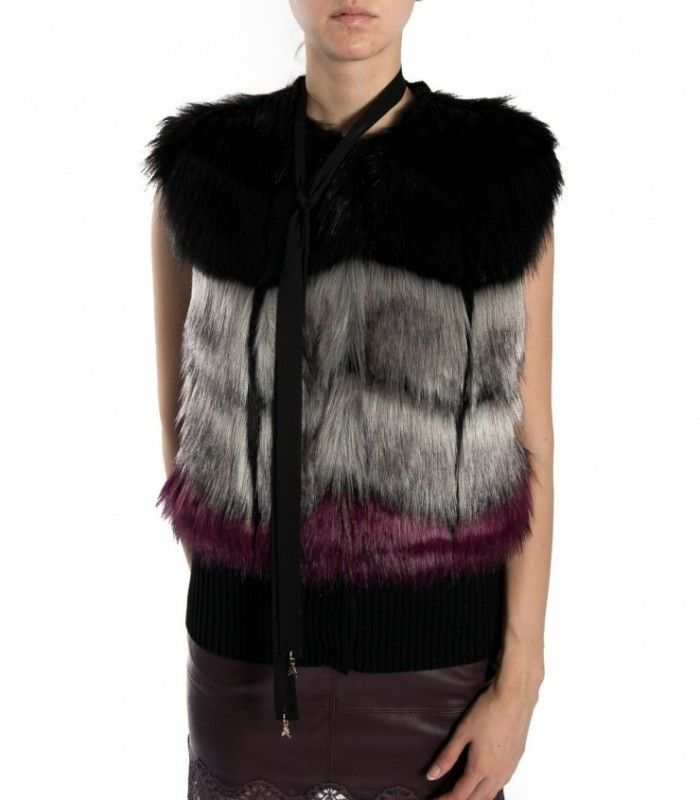 PATRIZIA PEPE black degradè faux fur waistcoat 8S0157 A2UA