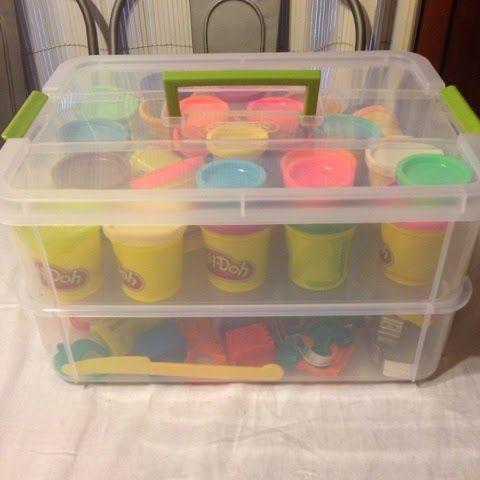 Playdoh organization. On Amazon: Sterilite stack n carry 2 layer handle box.