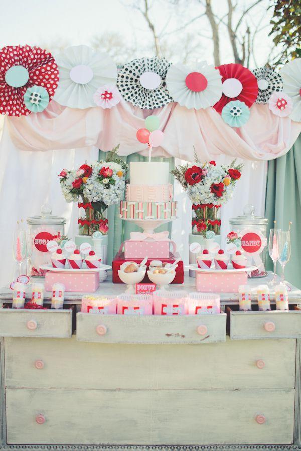 carnival wedding dessert table