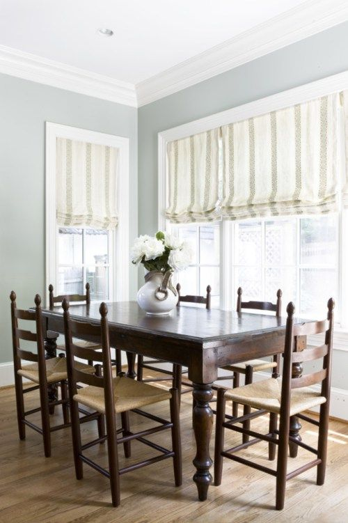 Benjamin Moore Tranquility, one of the best blue green gray paint colour blends. Shown in dining room, slightly farmhouse or country style