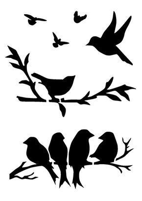 """11.7/16.5"""" Birds on branches stencil. Birds 2. A3."""