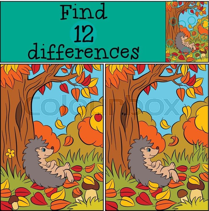 Stock vector of 'Children games: Find differences. Little cute hedgehog lays near big tree. Autumn.'