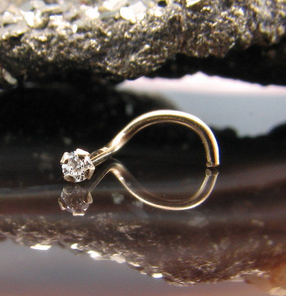 Unique Nose Rings Nose Screw Ring Solid Yellow Gold 14KT 1.5mm Real EFG SI Genuine Diamond. FREE Backing.