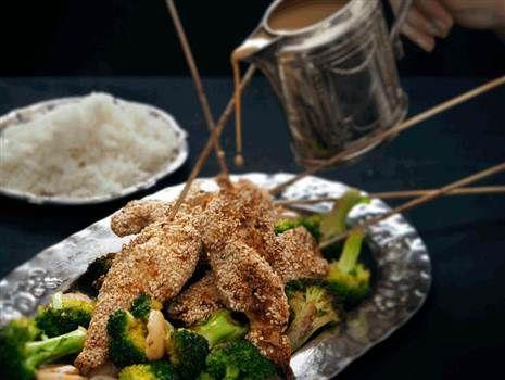 Chickensticks med ris och sötsur kokossås