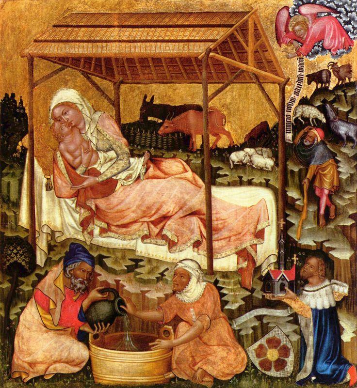 Master of Hohenfurth, Hohenfurth Altar: Nativity, before 1350, Prague, National Gallery (Mistr Vyšebrodského oltáře, Vyšebrodský oltář: Narození Páně, před 1350, Praha, Národní galerie)