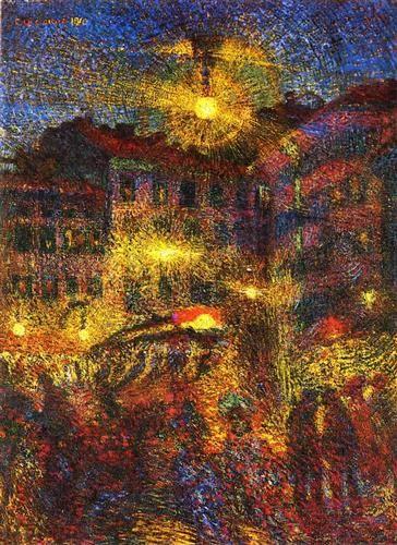 Night At Piazza Beccaria In Milan - Carlo Carra (1881-1966), Italian