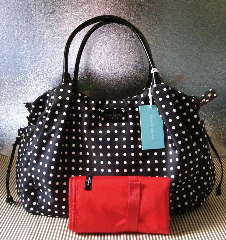 New Kate Spade Spot Nylon Classic Stevie Baby Diaper Bag Black Ebay