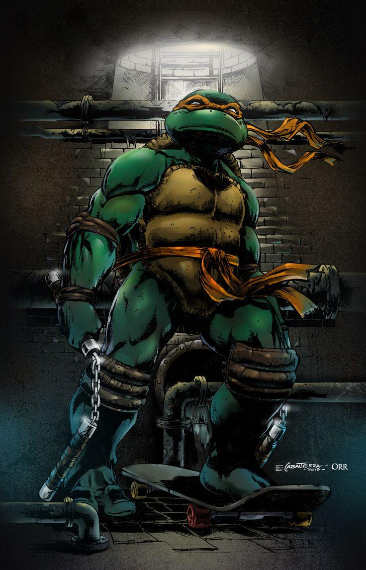 Ninja Turtle Nails: TMNT Michelangelo By ~scroll142