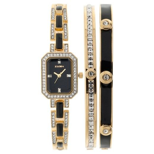 Beautiful Black and Gold Watch and Bracelet Set