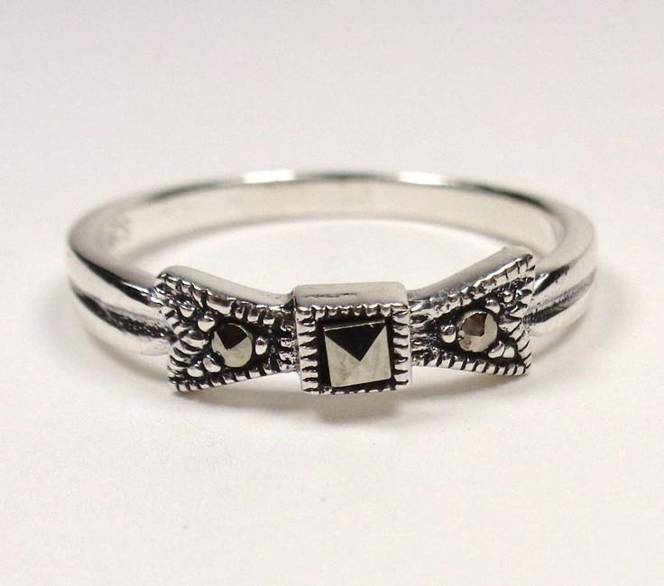 STERLING SILVER  ELEGANT FREEDOM BOW AND DAZZLING MARCASITES PROMISE RING SIZE 9 #Unbranded #Band